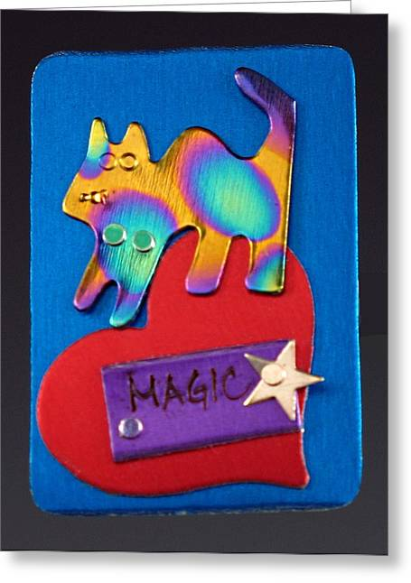 Colorful Jewelry Greeting Cards - Circus Kitty Greeting Card by Barbara Lager