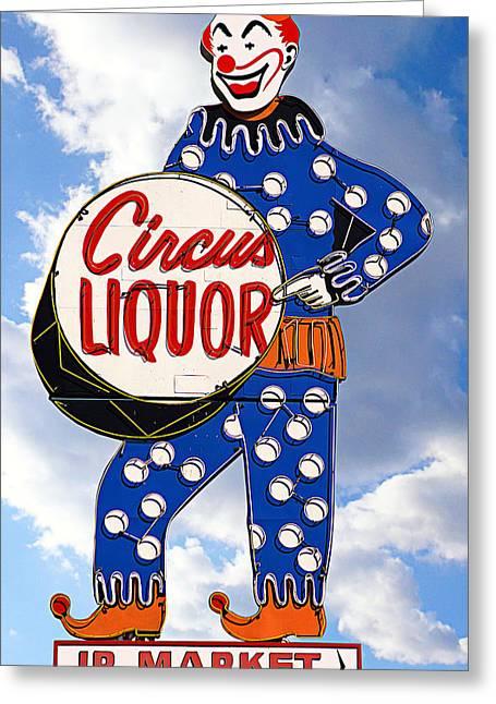Circus Graphics Greeting Cards - Circus Liquor Greeting Card by Ron Regalado