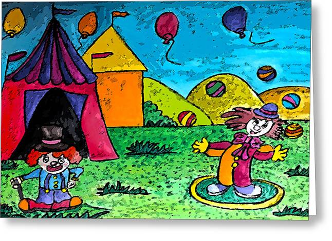 Juggling Drawings Greeting Cards - Circus Greeting Card by Monica Engeler