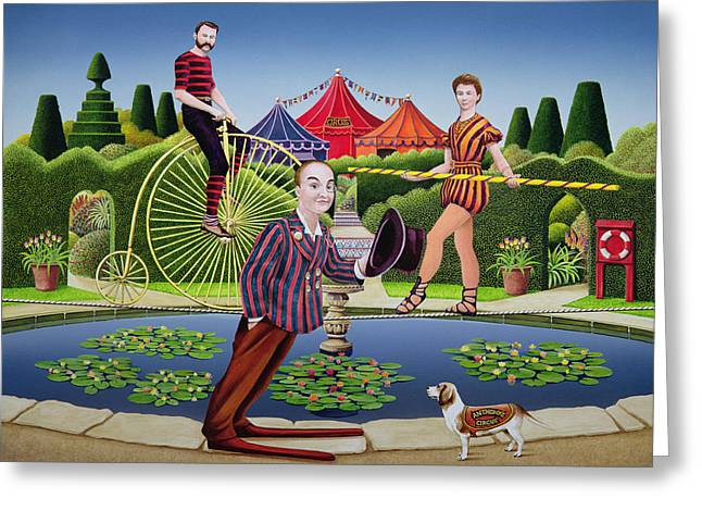Tightrope Greeting Cards - Circus Performers, 1979 Acrylic On Board Greeting Card by Anthony Southcombe