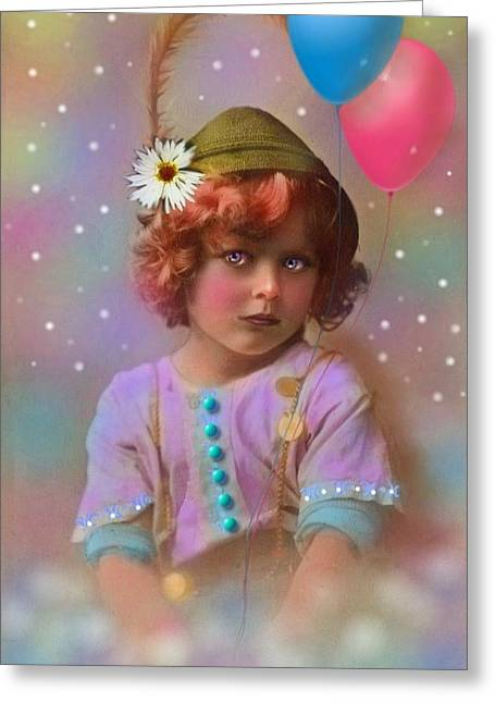 Flower Pink Fairy Child Greeting Cards - Circus Pixie Greeting Card by Karen Morley