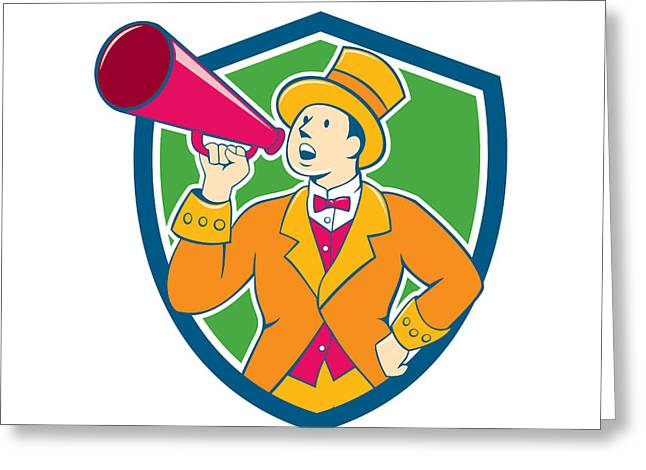 Announcer Greeting Cards - Circus Ringmaster Bullhorn Crest Cartoon Greeting Card by Aloysius Patrimonio
