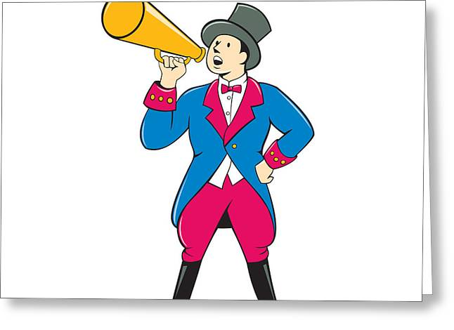 Announcer Greeting Cards - Circus Ringmaster Bullhorn Standing Cartoon Greeting Card by Aloysius Patrimonio