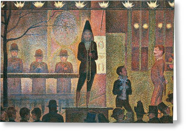Seurat Greeting Cards - Circus sideshow Greeting Card by Georges Seurat