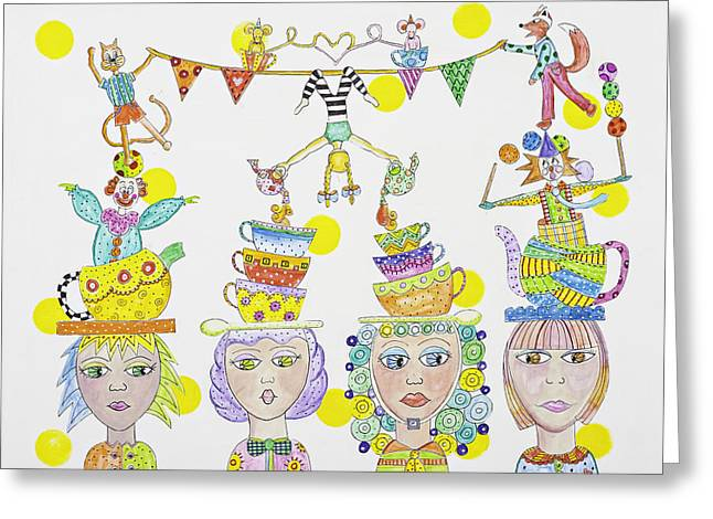 Tea Party Greeting Cards - Circus tea party Greeting Card by Lynn Colwell