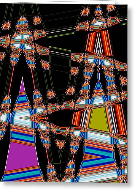 Circus Graphics Greeting Cards - Circus Time Double Triangles Greeting Card by Marian Bell