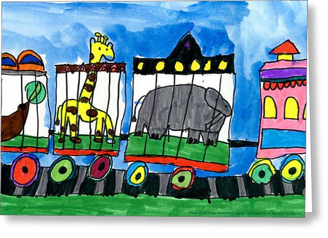 Best Sellers -  - Elephant Seals Greeting Cards - Circus Train Greeting Card by Max Kaderabek Age Eight