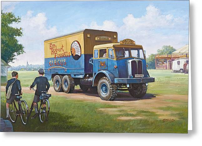 1960 Paintings Greeting Cards - Circus truck Greeting Card by Mike  Jeffries