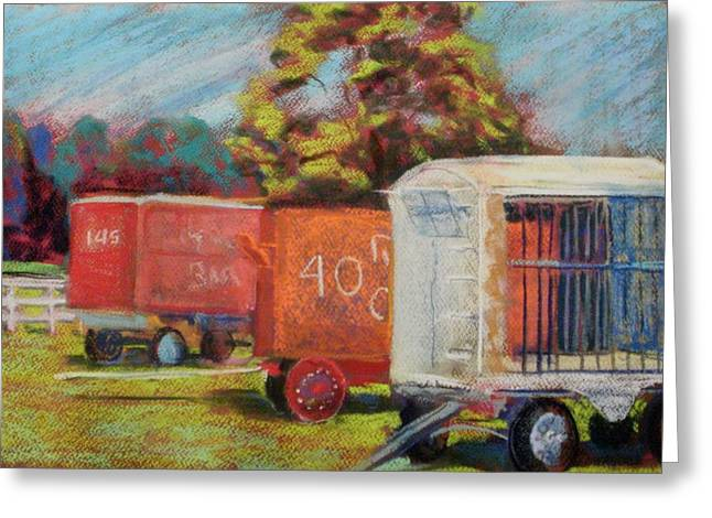 Wagon Pastels Greeting Cards - Circus Wagons Greeting Card by Tim  Swagerle