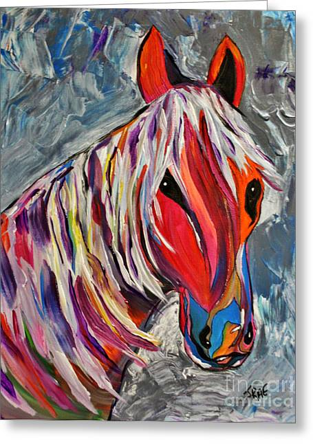 Gray Muzzle Greeting Cards - Cisco Abstract Horse  Greeting Card by Janice Rae Pariza