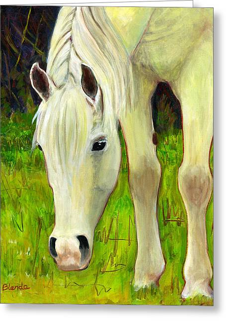 Contemporary Equine Greeting Cards - Cisco Sees Horse Art Greeting Card by Blenda Studio