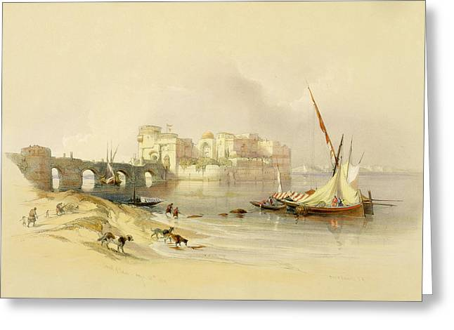 Port Greeting Cards - Citadel of Sidon Greeting Card by David Roberts