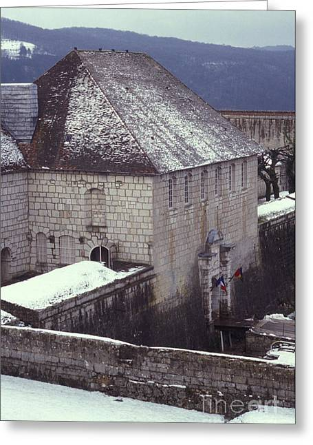 Besancon Greeting Cards - Citadelle Gate Under Snow Greeting Card by Gregory Schultz