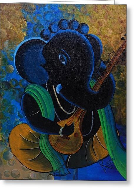 Vinayaka Greeting Cards - Citar Ganesha Greeting Card by Rupa Prakash