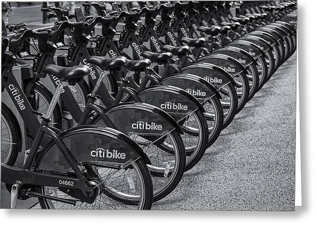 Midtown Greeting Cards - Citi Bikes BW Greeting Card by Susan Candelario