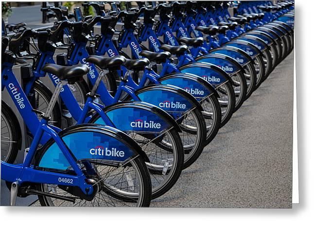 Citi Greeting Cards - Citi Bikes  Greeting Card by Susan Candelario
