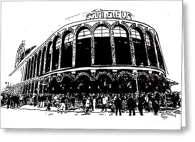Baseball Fields Drawings Greeting Cards - Citi Field - New York Mets Greeting Card by Rob Monte