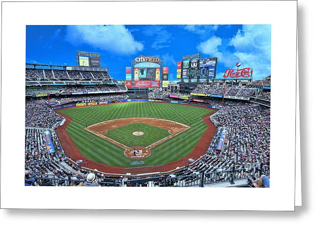 Citifield Greeting Cards - Citi Field Greeting Card by Allen Beatty