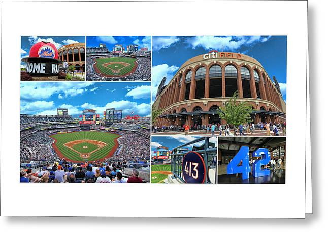Citifield Greeting Cards - Citi Field Collage 2 Greeting Card by Allen Beatty