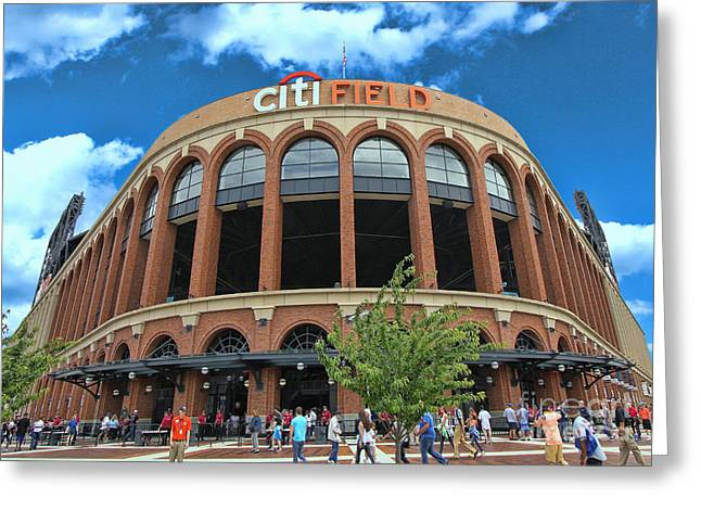 Citifield Greeting Cards - Citi Field Entrance Rotunda Greeting Card by Allen Beatty