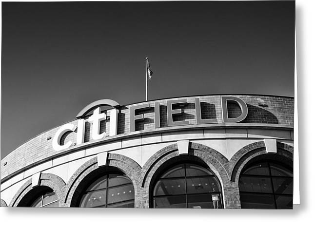 Baseball Pyrography Greeting Cards - CITI Field Greeting Card by Jani Foeldes
