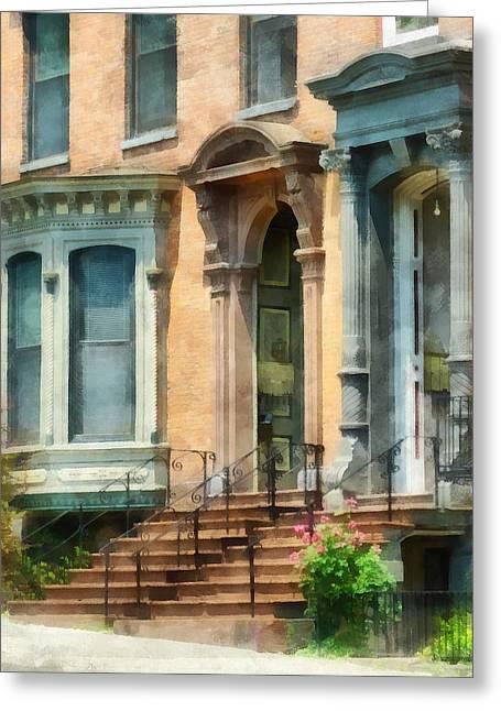 Cities - Albany Ny Brownstone Greeting Card by Susan Savad