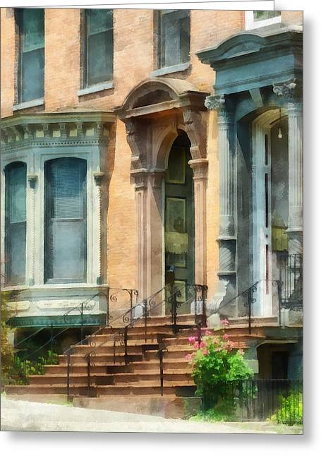 Albany Greeting Cards - Cities - Albany NY Brownstone Greeting Card by Susan Savad