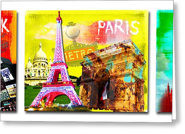 Times Square Digital Art Greeting Cards - Cities Greeting Card by Jan Rafael