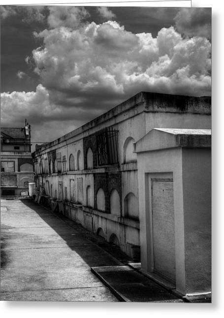 Chrystal Greeting Cards - Cities Of The Dead in Black and White Greeting Card by Chrystal Mimbs