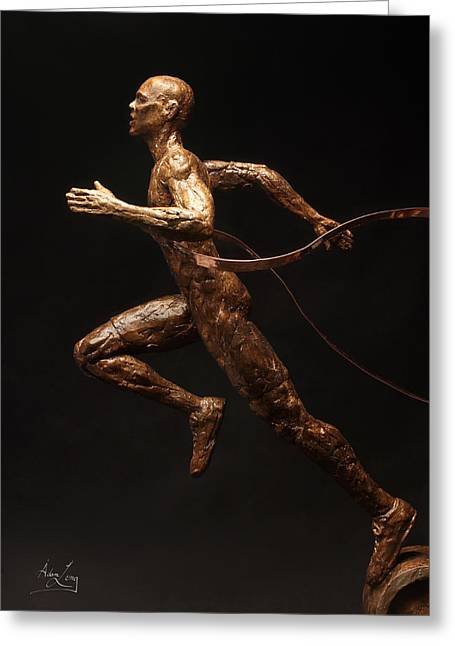 Flowing Sculptures Greeting Cards - Citius Altius Fortius Runner over Black Olympic Art Greeting Card by Adam Long