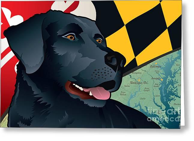 Labrador Retriever Digital Art Greeting Cards - Citizen Black Lab Greeting Card by Joe Barsin