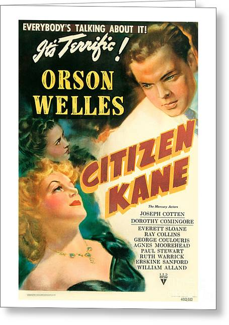 Classic Hollywood Paintings Greeting Cards - Citizen Kane Movie Poster - Orson Welles Greeting Card by MMG Archive Prints