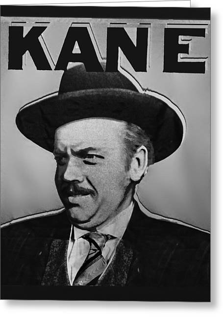 Citizens Mixed Media Greeting Cards - Citizen Kane Orson Welles Campaign Poster B And W Greeting Card by Tony Rubino