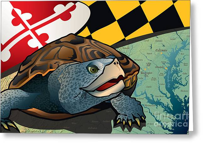 Terrapin Greeting Cards - Citizen Terrapin Marylands Turtle Greeting Card by Joe Barsin
