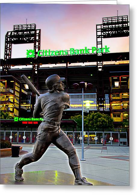 Citizens Bank Greeting Cards - Citizens Bank Park - Mike Schmidt Statue Greeting Card by Bill Cannon