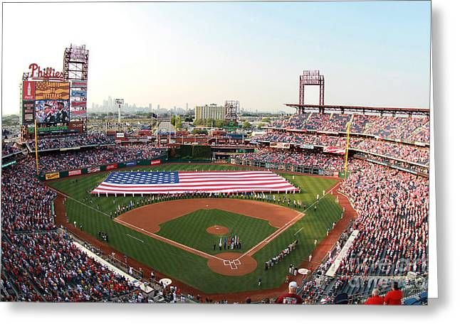 Citizens Bank Photographs Greeting Cards - Citizens Bank Park Patriotic  Greeting Card by Bryan Maransky