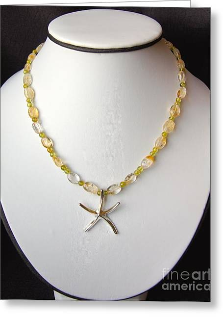 Tropical Beach Jewelry Greeting Cards - Citrine and Peridot Starfish Necklace Greeting Card by Megan Cohen