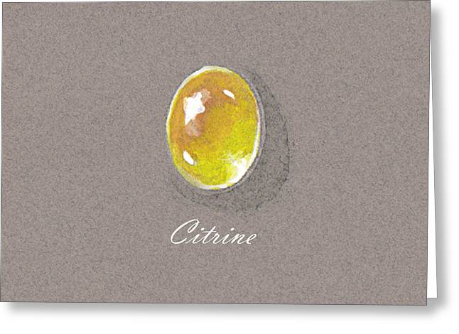 Carat Paintings Greeting Cards - Citrine cabochon Greeting Card by Marie Esther NC