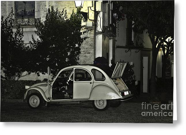 Parked Cars Greeting Cards - Citroen at Night Greeting Card by Mary Machare