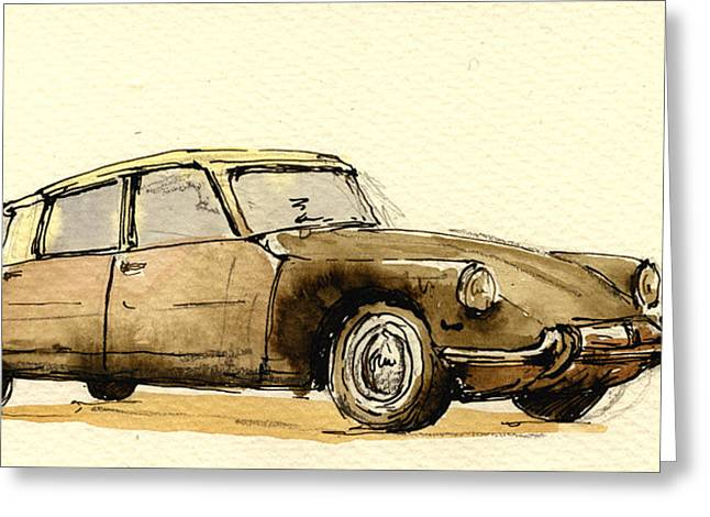 Cs Greeting Cards - Citroen CS Greeting Card by Juan  Bosco