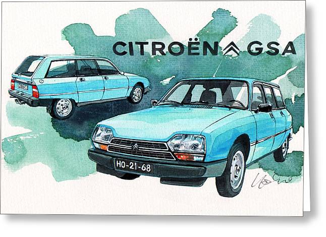 Citroen Gsa Greeting Card by Yoshiharu Miyakawa