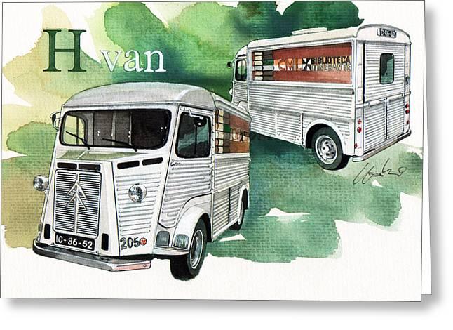 Citroen H Van Greeting Card by Yoshiharu Miyakawa