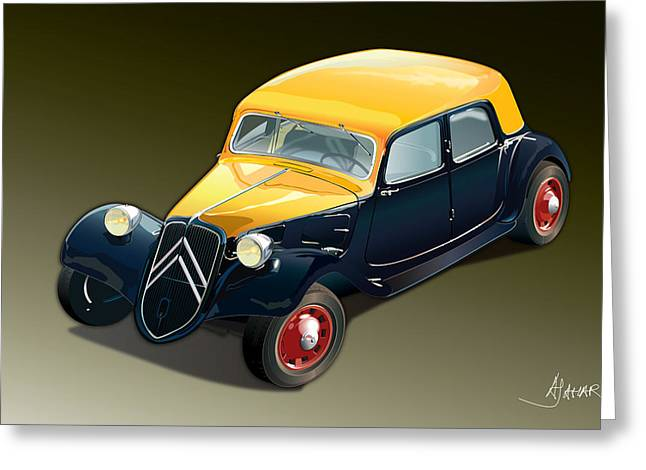 Automotive.digital Greeting Cards - Citroen Traction Avant Greeting Card by Alain Jamar