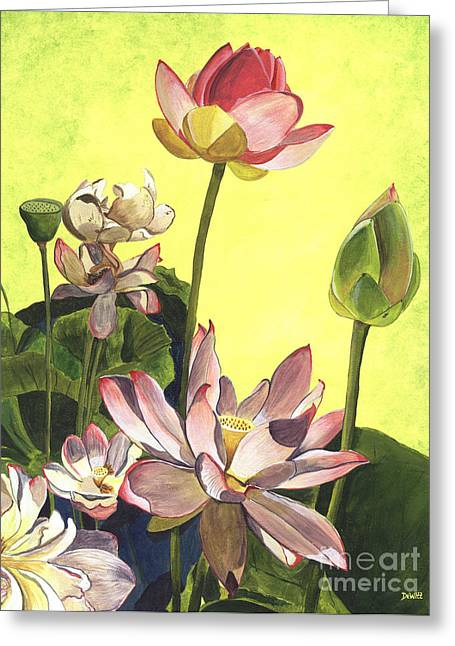 Pink Blossoms Greeting Cards - Citron Lotus 1 Greeting Card by Debbie DeWitt