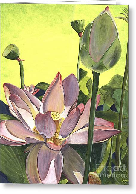 Lotus Blossoms Greeting Cards - Citron Lotus 2 Greeting Card by Debbie DeWitt