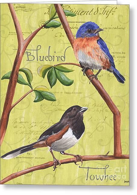 Brown Leaves Greeting Cards - Citron Songbirds 1 Greeting Card by Debbie DeWitt