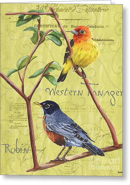 Brown Leaves Greeting Cards - Citron Songbirds 2 Greeting Card by Debbie DeWitt