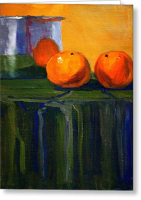 Table Cloth Greeting Cards - Citrus Chrome Greeting Card by Nancy Merkle