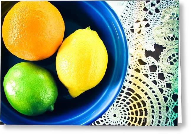Lemon Art Greeting Cards - Citrus  Greeting Card by Colleen Kammerer