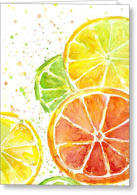 Bright Decor Greeting Cards - Citrus Fruit Watercolor Greeting Card by Olga Shvartsur